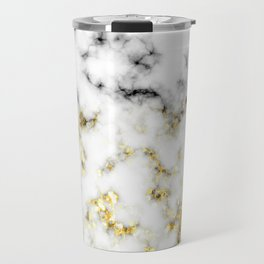 Black and white marble gold sparkle flakes Travel Mug