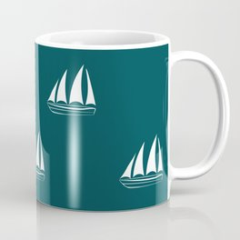 White Sailboat Pattern on teal blue background Coffee Mug