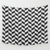 herringbone Wall Tapestries featuring Herringbone Pattern by NobuDesign