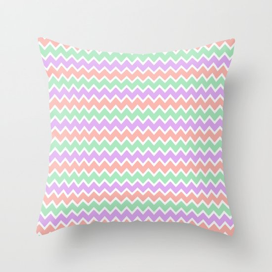 Coral Peach Pink And Lavender And Mint Green Chevron Throw