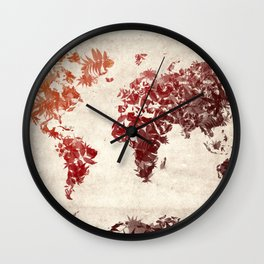 world map leaves Wall Clock