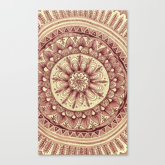 mandala: maroon Canvas Print