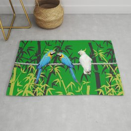 Kakadu - Macaw Bamboo Rope Jungle green Rug