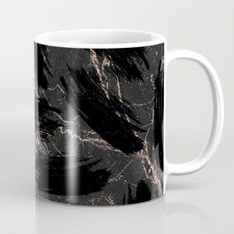 Abstract black rose gold glitter brushstrokes marble Coffee Mug