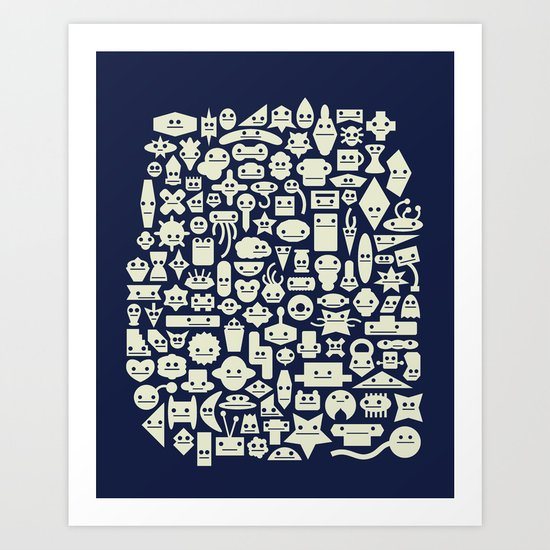 Shapes With Faces Art Print