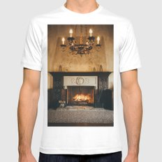 Cozy Fireplace White Mens Fitted Tee MEDIUM