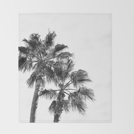 Big Sur Palms | Black and White Palm Trees California Summer Sky Beach Surfing Botanical Photography Throw Blanket