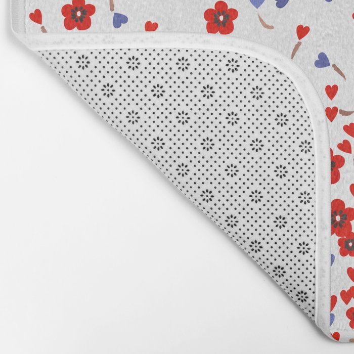Flowers and Hearts Bath Mat
