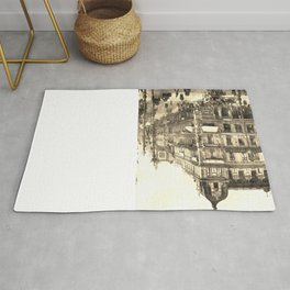 Berlin retro antique Unter den Linden travel ad sepia Rug