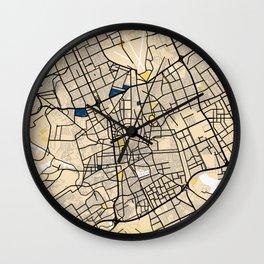 Riyadh Yellow City Map Wall Clock
