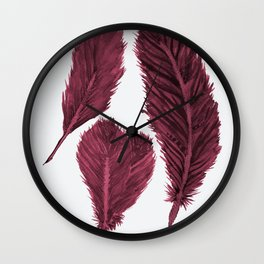 Feather Collection - bordeux Wall Clock