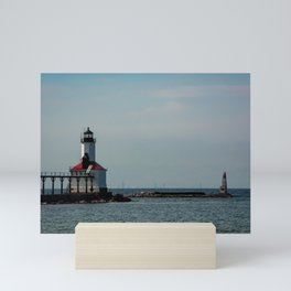 Chicago Skyline as seen from Michigan City Indiana with Lighthouse in Foreground Mini Art Print