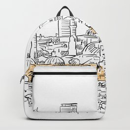 Modern and old Istanbul panorama drawing Backpack