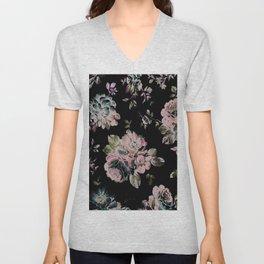 Dark Floral Pink Unisex V-Neck