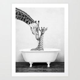 Bathitude - Mother & Baby Giraffe in a Vintage Bathtub (bw) Art Print