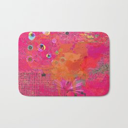 Hot Pink & Orange Abstract Art Collage Bath Mat