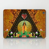 surfboard iPad Cases featuring Surfboard with flowers  by nicky2342