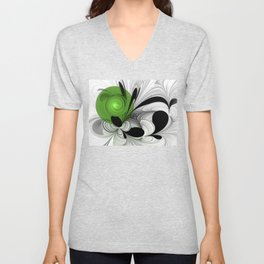 Abstract Black and White with Green Unisex V-Neck