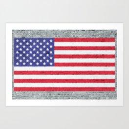 USA Flag Whitewashed Loft Apartment Brick Wall Art Print