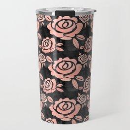 Pink Roses on a Black Backround Travel Mug
