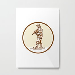 American Soldier Rifle Walking Circle Cartoon Metal Print