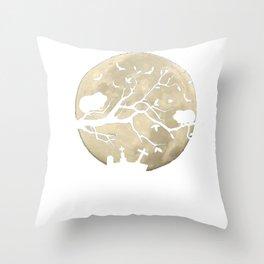Halloween Guinea Pig Full Moon Cemetary Throw Pillow