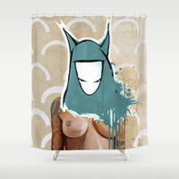 mask Shower Curtains featuring Mask by Soren Barton