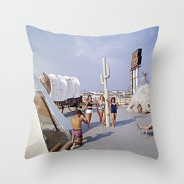 Ranch House Motel in the 1960's. North Wildwood, New Jersey Throw Pillow