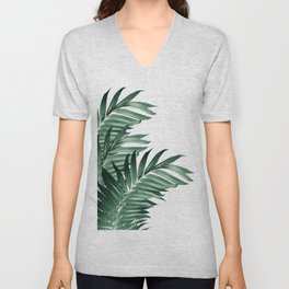 Palm Leaves Tropical Green Vibes #3 #tropical #decor #art #society6 Unisex V-Neck