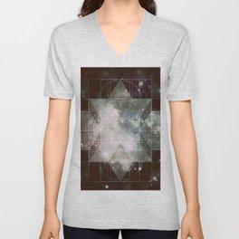 Galaxy Sacred Geometry: Dark Rhombic Hexecontahedron Unisex V-Neck