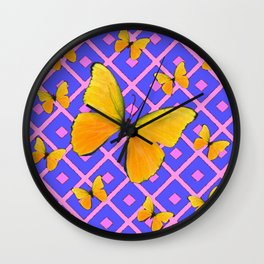 Decorative  Yellow Butterflies on Lilac & Pink Wall Clock