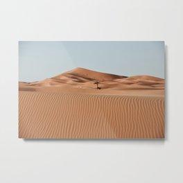 Erg Chebbi Dunes Palmtree, Maroccan Desert Landscape. Merzouga, Marocco.  Metal Print