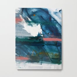 Breathe Through It: a vibrant abstract painting in blue pink and various colors by Alyssa Hamilton Metal Print
