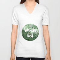wanderlust V-neck T-shirts featuring Wanderlust by Mariam Tronchoni
