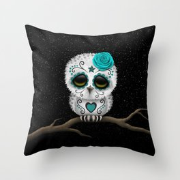 Adorable Teal Blue Day of the Dead Sugar Skull Owl Throw Pillow