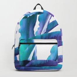 Tropical Flair - Foliage glitch in blue, Aqua and Purple Backpack