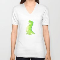 t rex V-neck T-shirts featuring T-rex by Alison Sadler's Illustrations