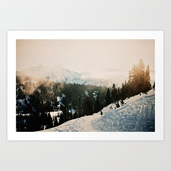 Winter Mountain Hike Art Print
