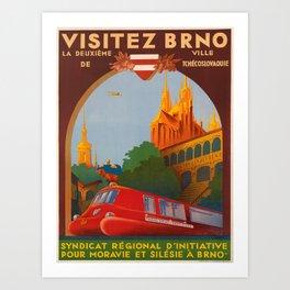 retro plakat visitez brno. circa 1936 Art Print