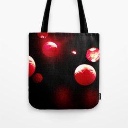 Crimson Orbs Tote Bag