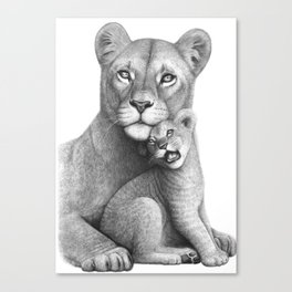 Lioness with a baby Canvas Print
