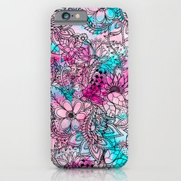 Modern pink turquoise floral watercolor handdrawn pattern iPhone Case
