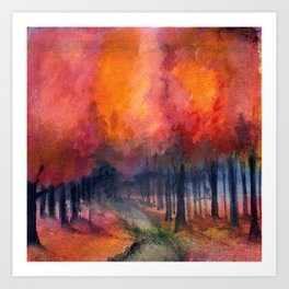 Nighttime Autumn Landscape Nature Art Art Print