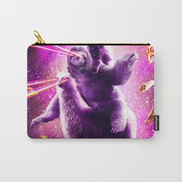 Laser Eyes Space Cat Riding Sloth, Llama - Rainbow Carry-All Pouch