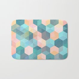 Child's Play 2 - hexagon pattern in soft blue, pink, peach & aqua Bath Mat