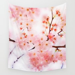 Cherry pink blossoms watercolor painting #13 Wall Tapestry