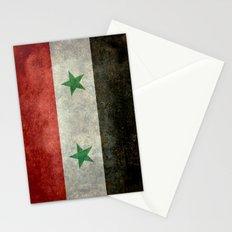National flag of Syria - vintage Stationery Cards