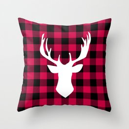 Winter Plaid Deer Throw Pillow