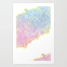 Swirling clouds in the heavens Art Print