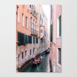 Venice Gondola Rides in Pink Canvas Print